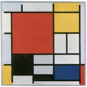 Compositie in rood, geel, blauw en zwart van Piet Mondriaan