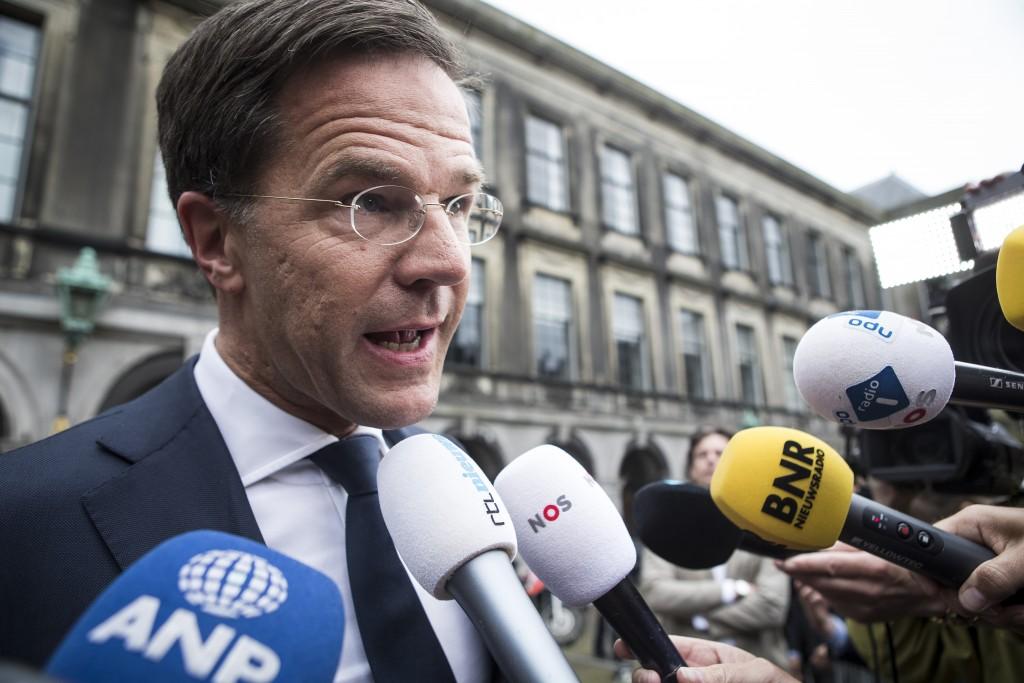 2017-05-15 18:52:37 DEN HAAG - Mark Rutte geeft een reactie op de vastgelopen formatie. De poging om een regering te vormen met VVD, CDA, D66 en GroenLinks is mislukt. ANP ALEXANDER SCHIPPERS