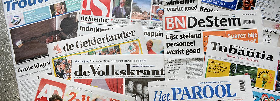 op het verkeerde been, kranten