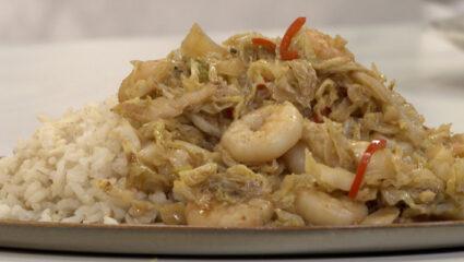 Wokgarnalen met rijst