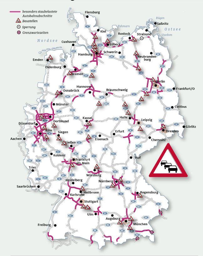 wegwerkzaamheden Duitsland