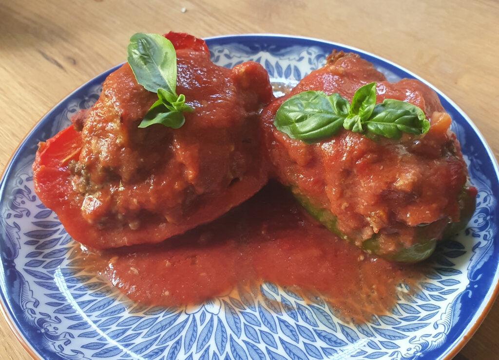 Gehalveerde paprika's