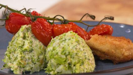 Broccolipuree met schnitzel