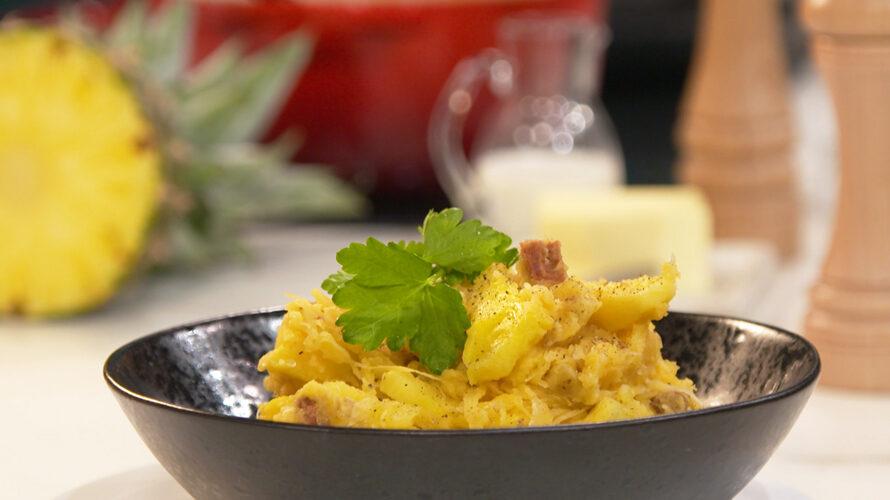 Zuurkoolstamppot met chorizo en ananas